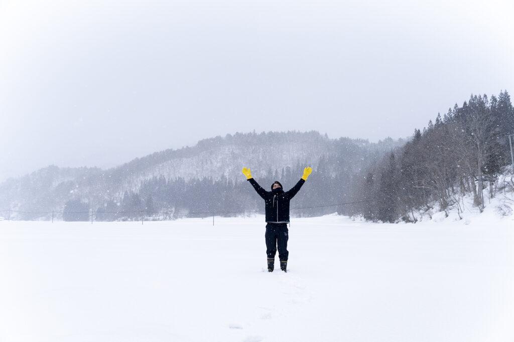 雪が固まって 歩けるっ!走れるっ!